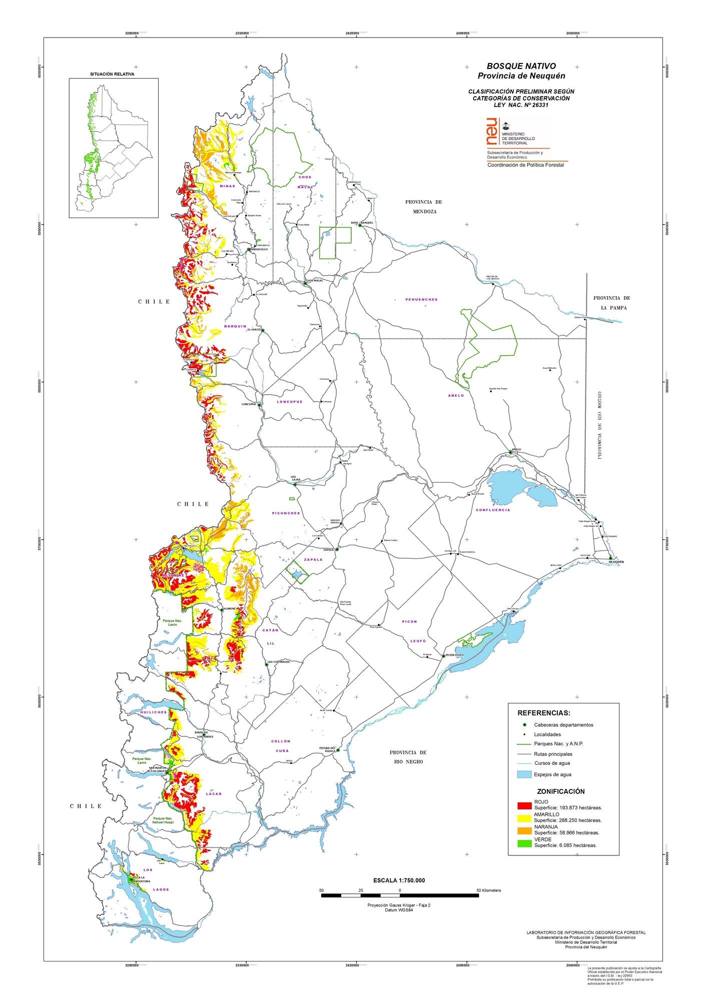Resultado de imagen para ley de bosques neuquen mapas