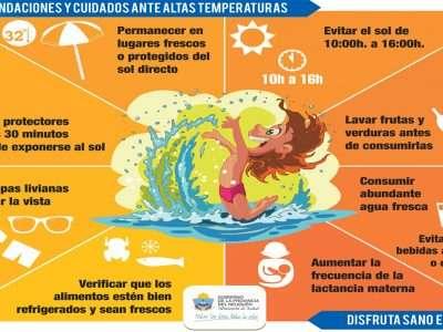 Recomiendan medidas para evitar golpes de calor, quemaduras de piel y brotes de diarreas